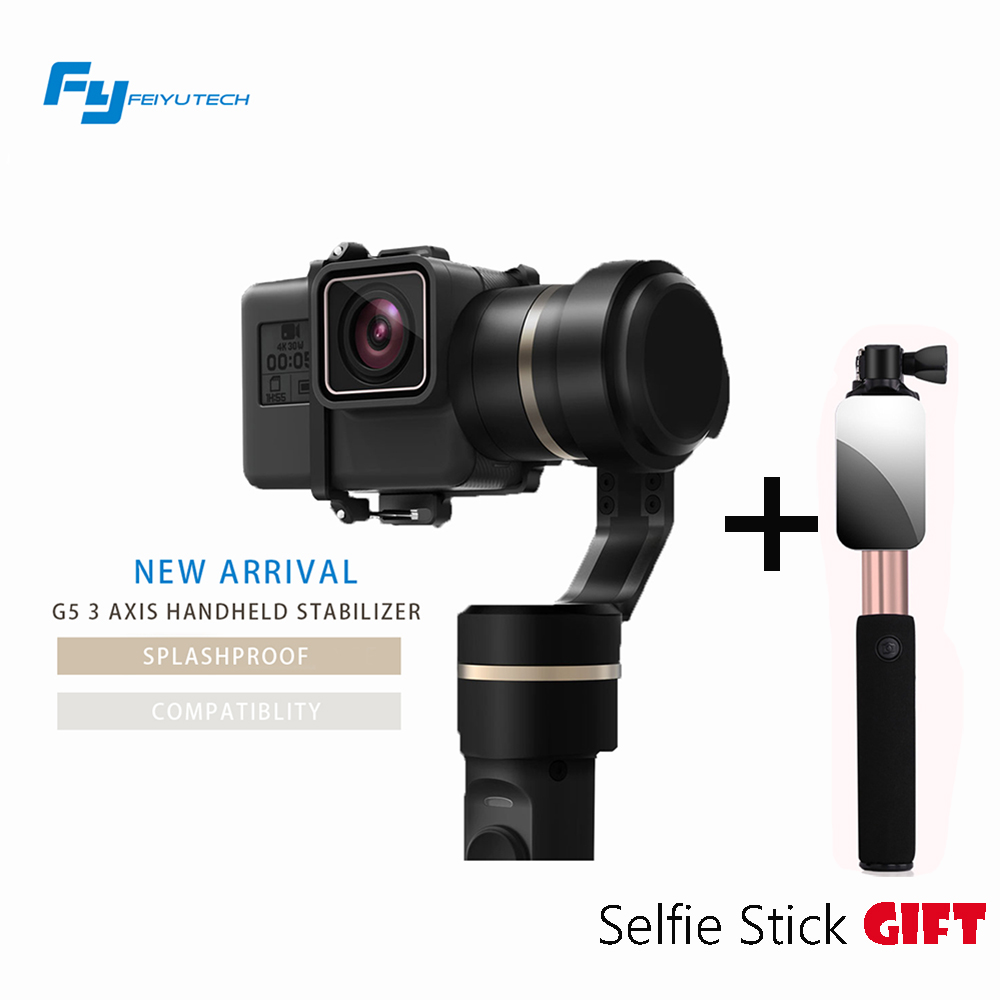 FEIYU G5 gopro hero 3 4 5 3 axis handheld gimbal stabilizer action camera 3-axis Gimbal steadicam splashproof gimbal for selfie [hk stock][official international version] xiaoyi yi 3 axis handheld gimbal stabilizer yi 4k action camera kit ambarella a9se75 sony imx377 12mp 155‎ degree 1400mah eis ldc sport camera black