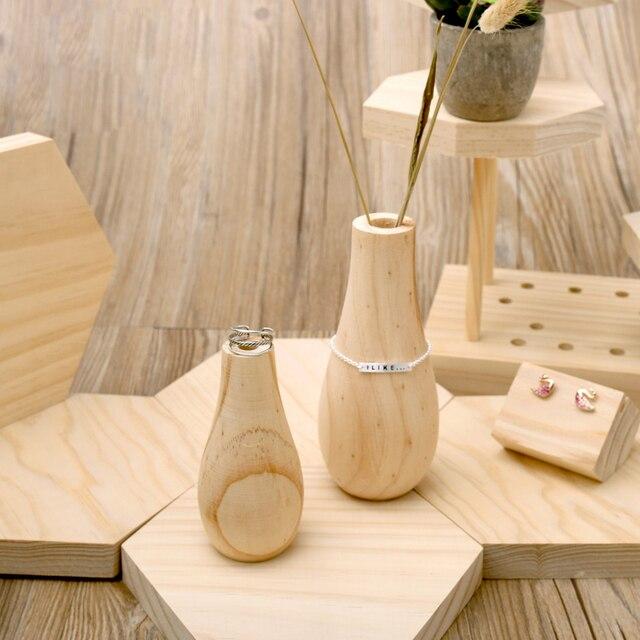 Wood Flower Vase Jewelry Display Props Bracelets Ring Bangle Holder