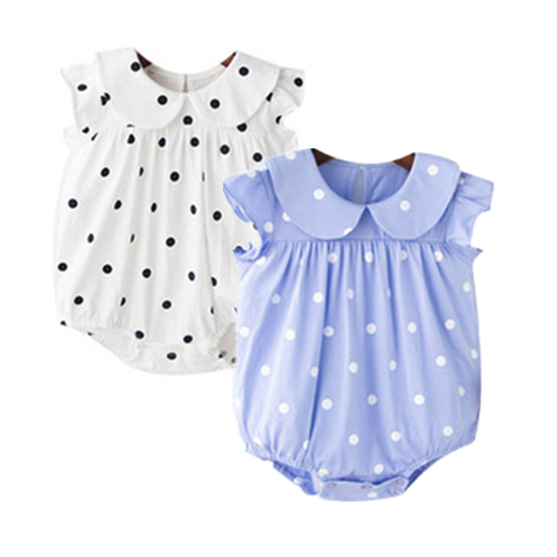 Cute Newborn Baby Girl Dot Print Summer Cotton Romper Infant Toddler Jumpsuit Bebe Clothes Set Kids Girls Outfit Stitch Costume