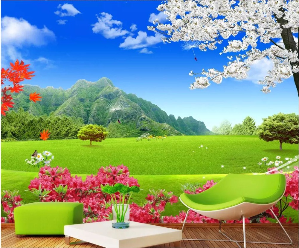 US $14 49 OFF Custom Mural 3d Photo Wallpaper For Bedroom Natural Landscape Green Meadow Cherry Blossom Background Wallpaper For Walls 3