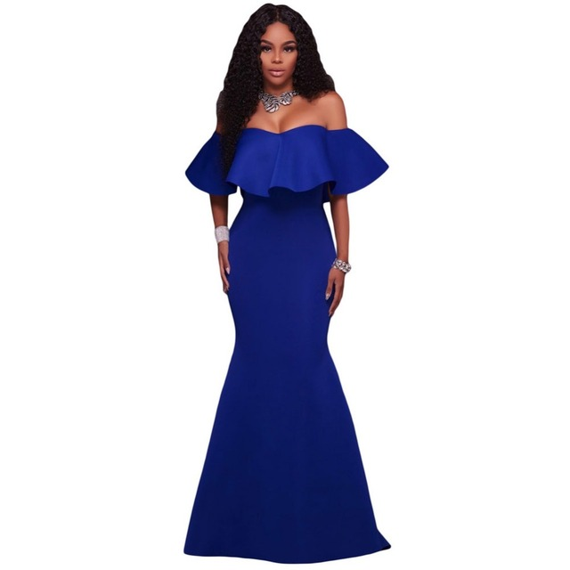 0896031f47 Royal Blue Fuchsia Off the Shoulder Short Sleeves Ruffle Jersey Elastic  Mermaid Cheap Long Evening Dresses Party Prom Dress