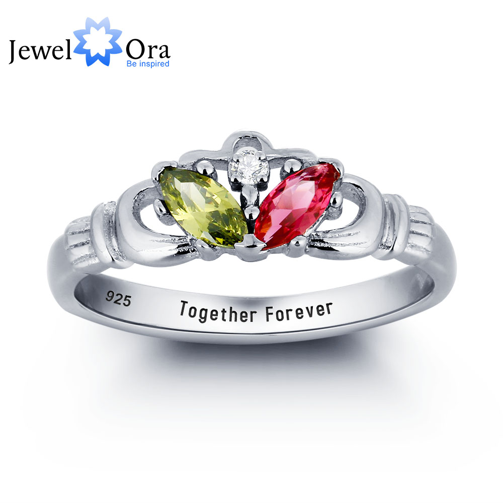 Personalized Engrave Birthstone Ring 925 Sterling Silver Infinity Claddagh Ring Best Valentine's Day Gift (JewelOra RI101780) caged heart locket infinity ring sterling silver birthstone ring engraved infinity ring mother s gift for grandma