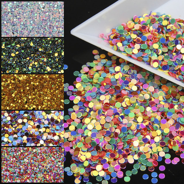 10g Piece Colorful Round Uv Gel Acrylic Nail Glitter Powder 3d Art Tip Decorations