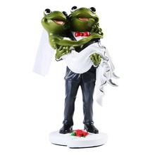 Resin Frog Couples Figurine Creative Wedding Gift Wedding Cake Toppers Wedding Party Decoration Accessories Birthday Cake Topper
