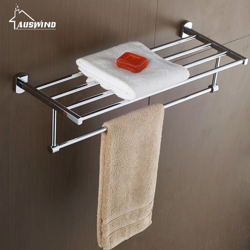 AUSWIND Modern 304 Stainless steel silver polish bath towel rack bathroom shelf 2 layer wall mount bathroom products nutritional status of hiv positive patients