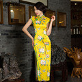 Fashion Yellow Vintage Evening dress Short sleeve long cheongsam dress chinese traditional dress qipao evening dresses gown