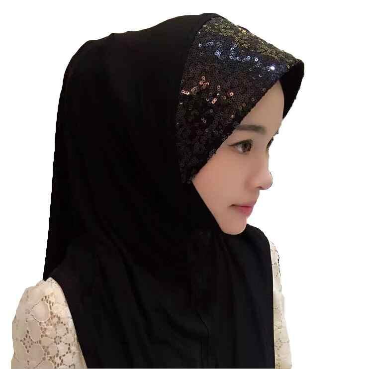 """1 шт. мусульманские женские блестки шарф """"Амира"""" Тюрбан Хиджаб шляпа Головной убор обертывание исламский шаль на голову тюрбан арабский химар вуаль Мода"""