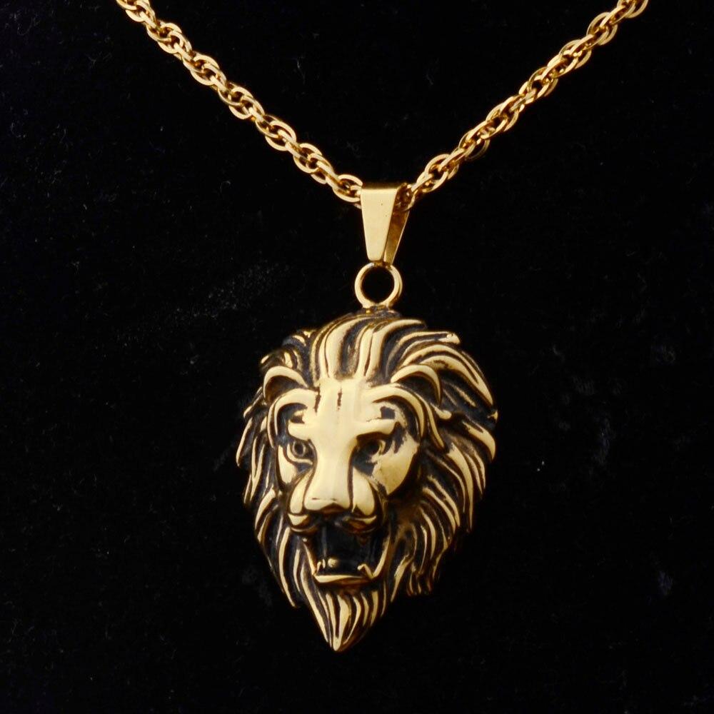 Royal Lion Silver Portrait Necklace Egyptian Gold Ankh Black