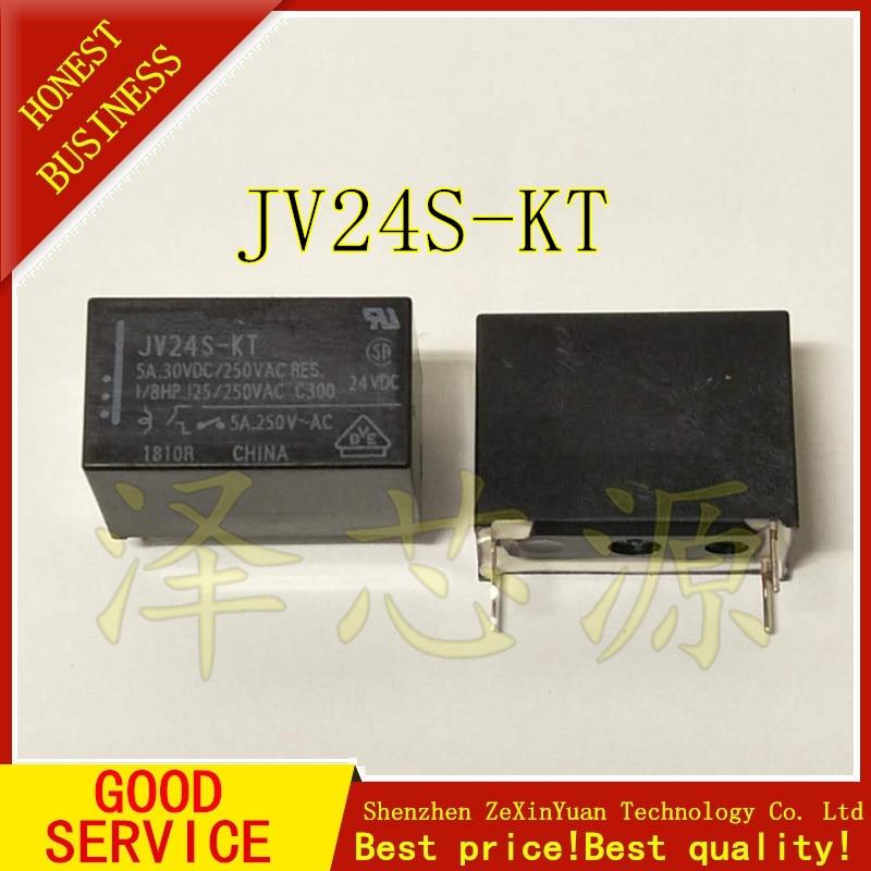 20pcslot 100%Original New JV24S-KT JV-24S-KT JV24-KT 4PINS 5A30VDC250VAC 24VDC Power Relay