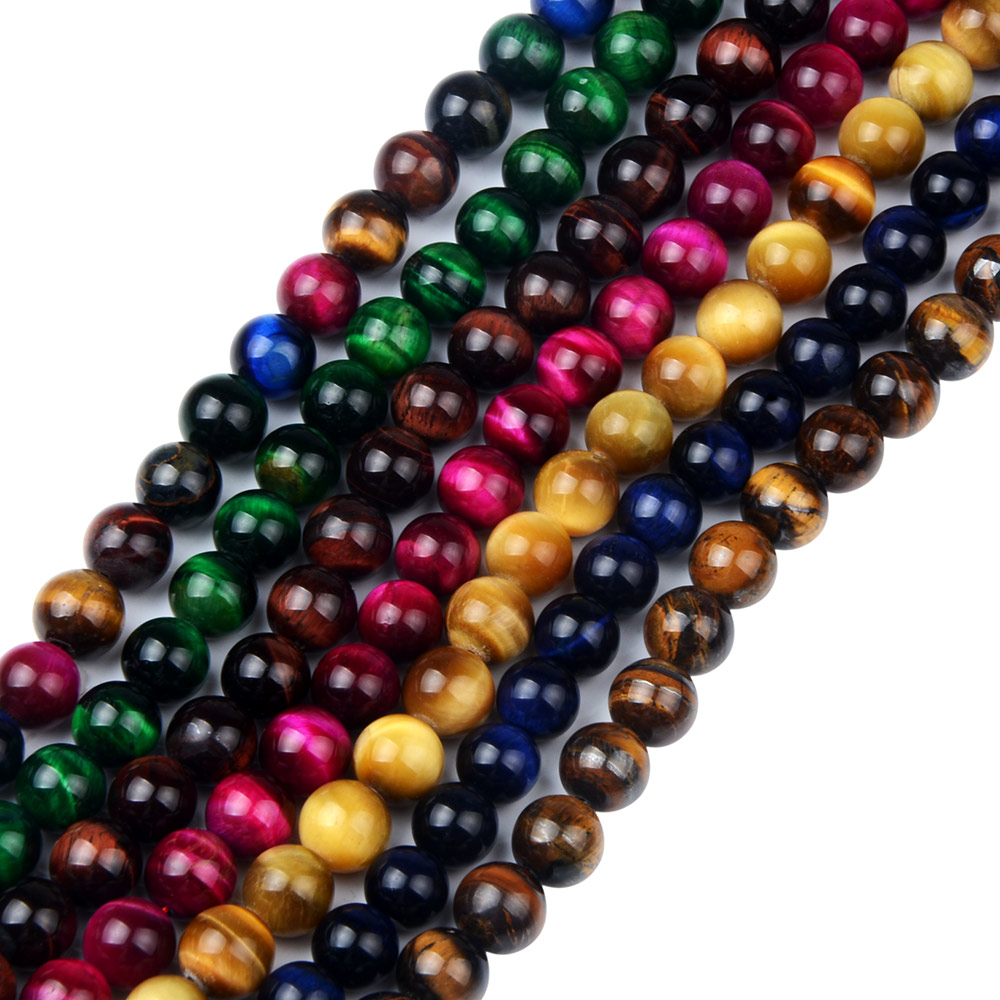6mm 8mm 10mm Bulk Loose Round Yellow blue Fuchsia Green Natural Stone Tiger Eye Beads Natural Stone Jewelry Bracelet Making new men bracelet 8mm tiger eye stone