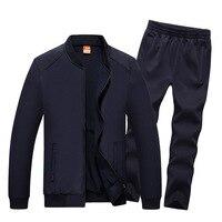 AmberHeard 2017 Fashion Autumn Winter Men Sporting Suit Jacket Pant Sweatsuit 2 Piece Set Sportswear Mens