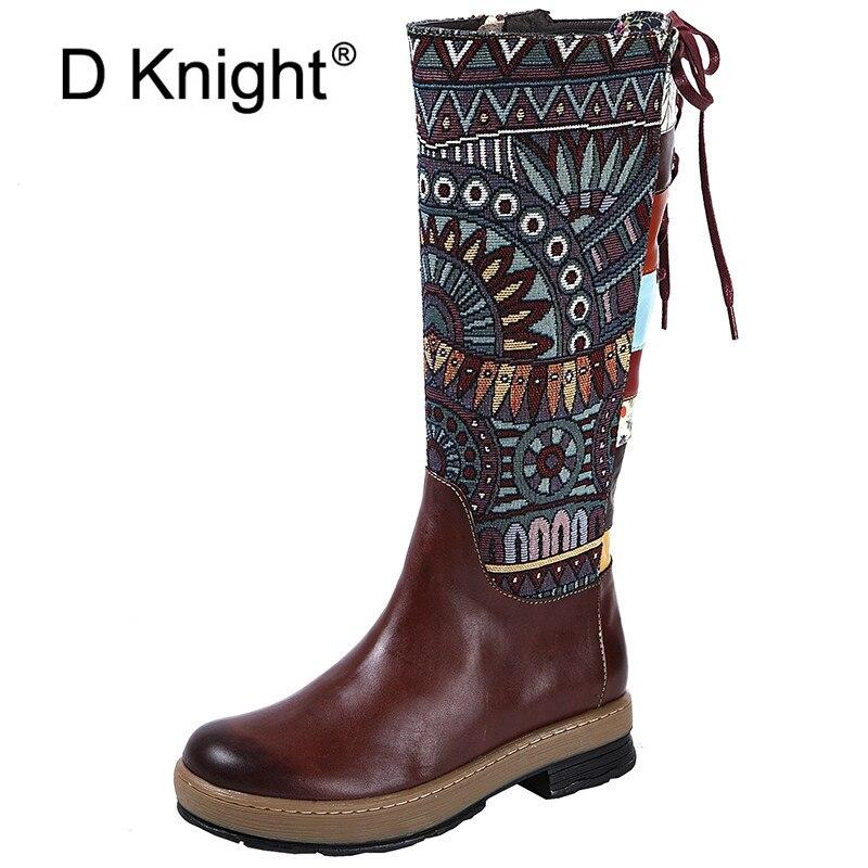 Cotton Mode Kuh Frauen Hohe Qualität Nationalen 4xl33 Schuhe 4xl33 Velvet Kniehohe Leder Stiefel Echtes Reitstiefel Handgemachte Sticken 6xzdn8F