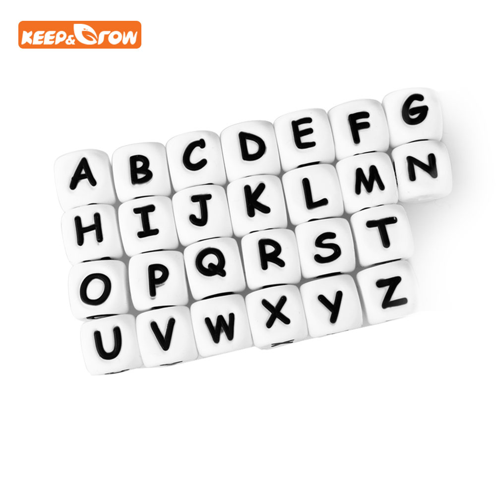 Keep&grow 1Pc Alphabet Letter Chewing Silicone Beads For Teething Necklace 26Letters Name Making Food Grade Silicone Letter Bead