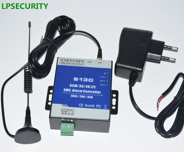 Cheap LPSECURITY GSM SMS Controller Alarm with 4I/2O Automation Industry controler Tanks, Oil, Water level control,Temperature S130