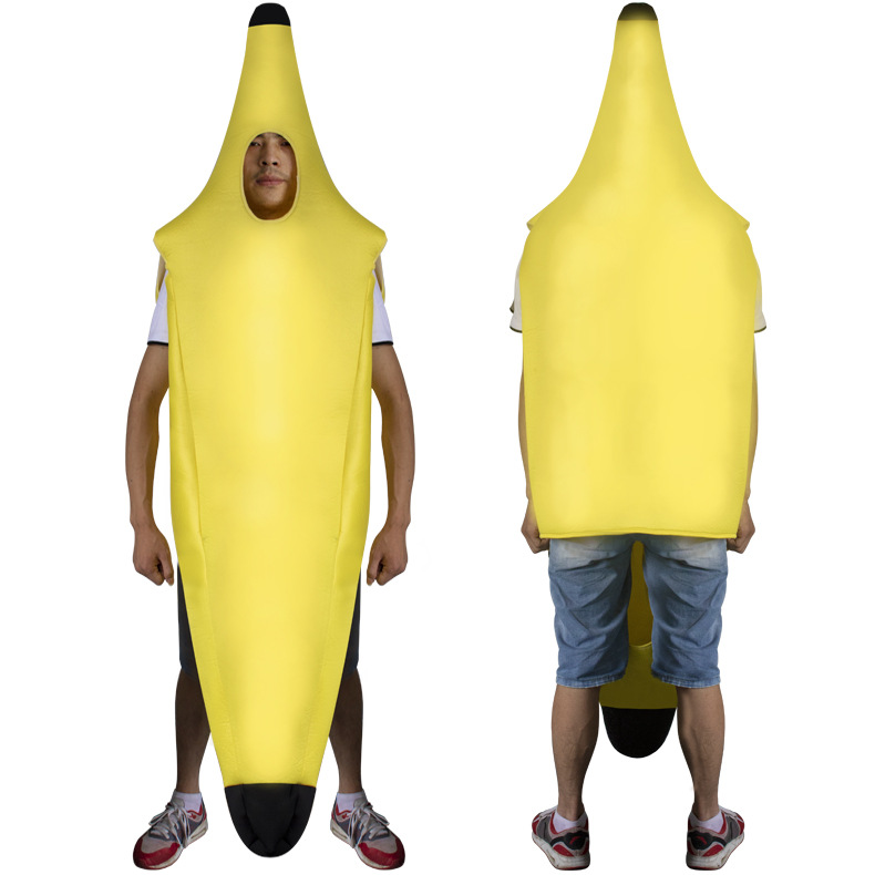2018 Amazing Banana Cosplay Costume For Men Women Halloween Carnival Party Fruit Jumpsuit Funny Decorations Clothes