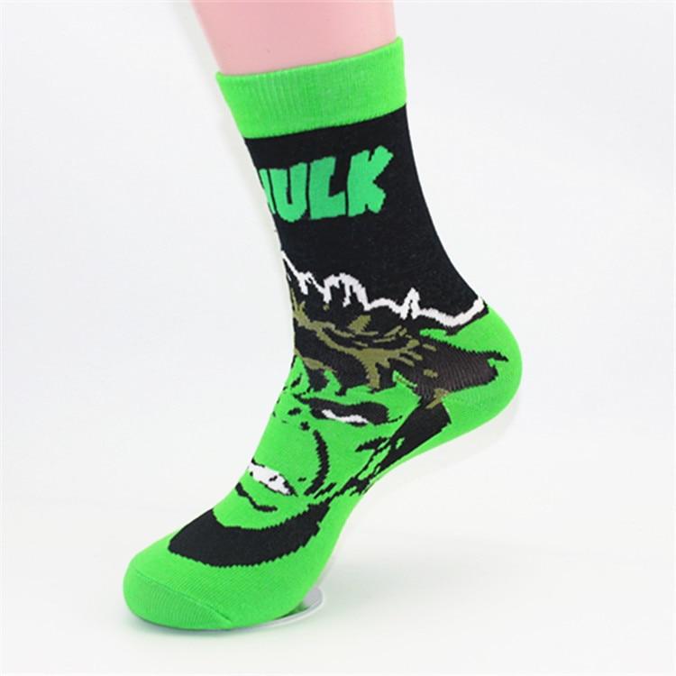 Wholesale 60 Pairs European Popular Style The Avengers Super Hero Socks Batman Spiderman Long Feet Socks Men Cool Skate Soks