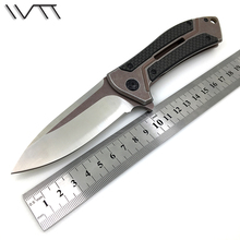 WTT Pocket Folding Hunting Knife D2 Blade Steel + Carbon Fiber Handle Ball Bearing Tactical Survival EDC Knives Camping Tools