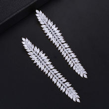 GODKI New Fashion Feather Crystal Cubic Zirconia Women Leaf Dangle Drop Earrings for Wedding Jewelry pendientes mujer mod 2018(China)