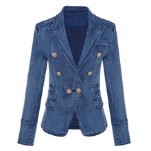 High Quality Woman Jeans Jacket Blazer Full Sleeve Double Breasted Metal Lion Gold Buttons Femme Jakcets 1762