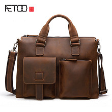AETOO Leather men bag Messenger bag new casual retro men Messenger bag tarpaulin tide package