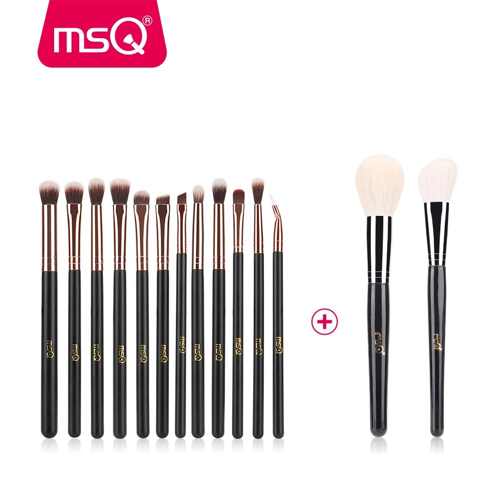 MSQ New 2pcs Big Powder+12pcs Professional Eye Makeup Brushes For Blusher Eyeshadow Blending Lip Eyeliner Goat+Synthetic Hair цена
