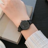EYKI Women Mens Wristwatch Top Brand Luxury Fashion Dress Watch Rose Gold Leather Unisex Quartz-watch Clock montre femme Black