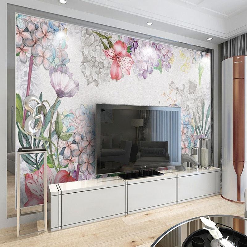 Beibehang custom 3d wall mural european watercolor flower for Butterfly mural wallpaper