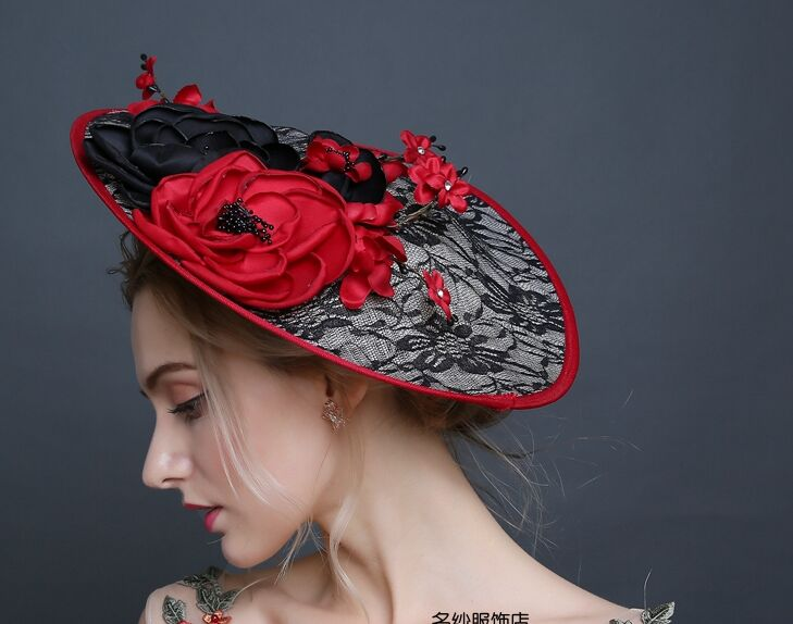 Free shipping medieval lace hat brimmed flowers black red lace hat /stage/photo/performance hat /decoration use