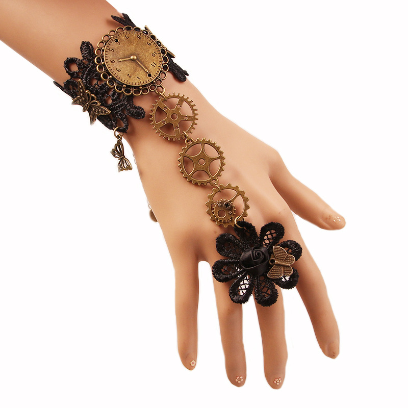 Women Retro Jewelry Lace Bracelet Gears Cuff Bracelets Gothic Steampunk Lolita Jewelry Accessories евгений стаховский интервью марины смирновой