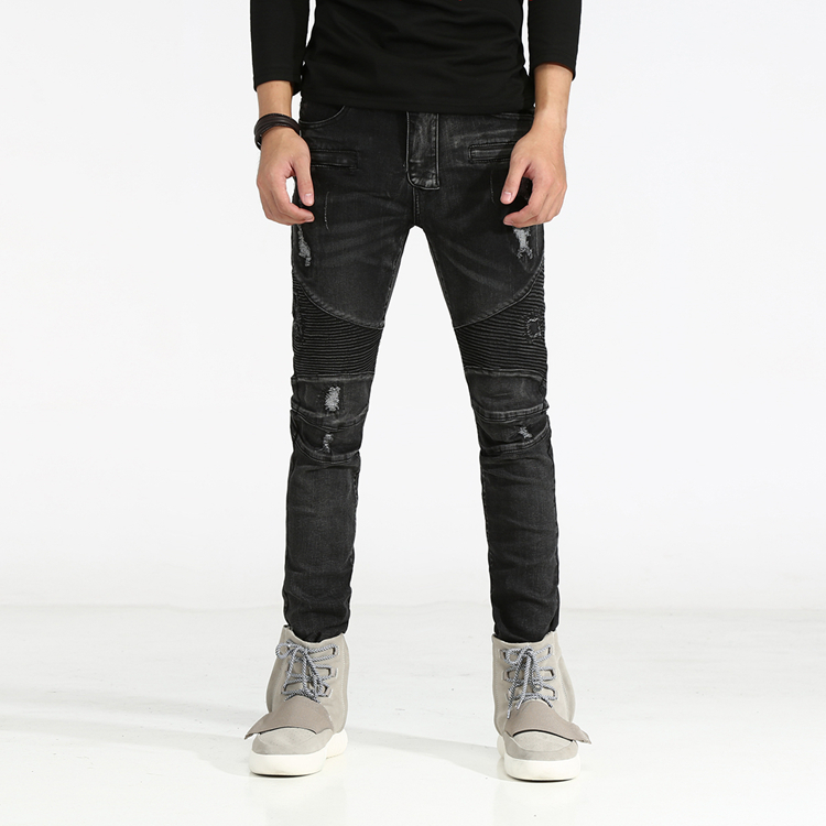 New Distressed Biker Jeans Men High Quality Mens Casual Slim Elastic Straight Denim Biker Jeans Skinny Jeans Men Pants 29-42 men s cowboy jeans fashion blue jeans pant men plus sizes regular slim fit denim jean pants male high quality brand jeans