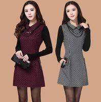Modelli invernali coreani a maniche lunghe vestito di lana Sottile sottile cuciture maglia camicia di plaid femminile inverno