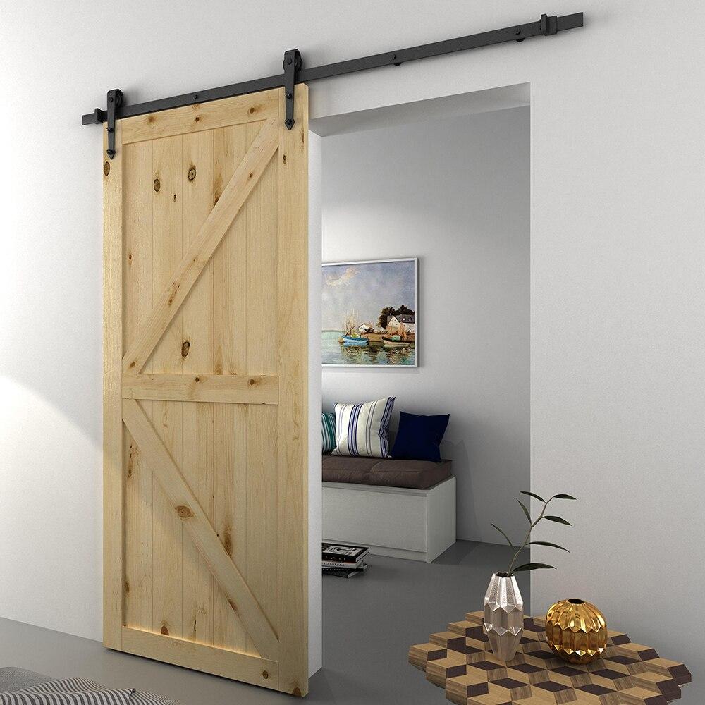 Modern Sliding Barn Door Closet Hardware Track Kit Track System Unit for Single Wooden Door 6FT /1860mm