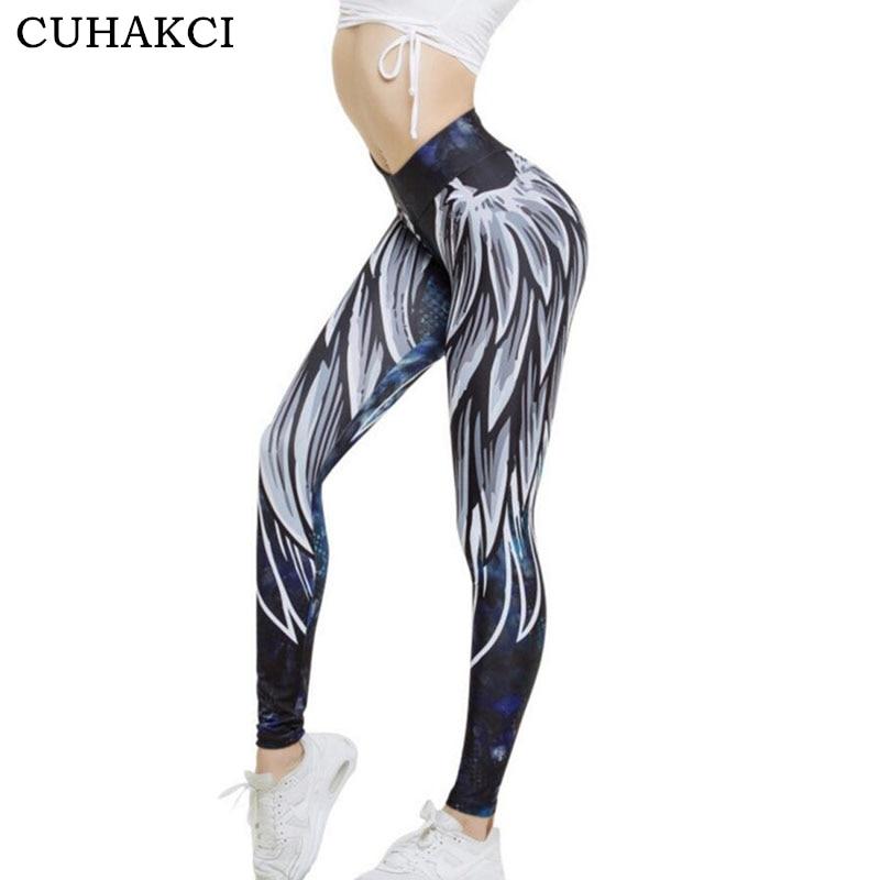CUHAKCI 3D Printed Angel Wing Print Leggings Women Push Up Legging Sexy Cartoon Graffiti Fitness Funny Sporting Leggins S M L XL