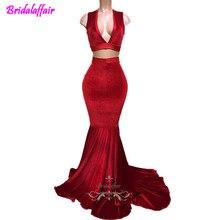 Sexy Profondo Scollo A V Rosso Velluto Due Pezzi every pretty Mermaid cheap prom dresses  2018 Prom Abiti Da Sera Custom Made