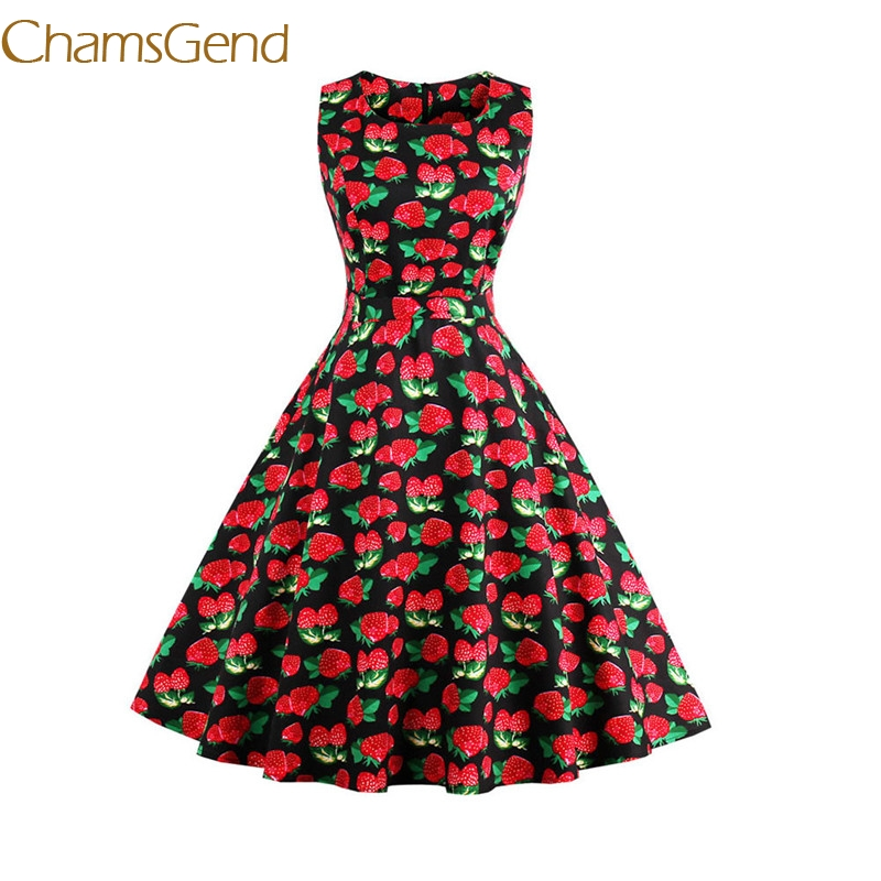 Chamsgend Vintage 1950 s black Strawberry Womens Spring Garden Rockabilly Swing Prom Party Cocktail 4XL Plus
