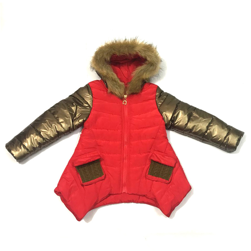Image 5 - Fashion Winter Thicken Warm Cotton Child Coat Children Outerwear Patchwork Fur Collar Baby Girls Jackets For 2 14 Years Old-in Down & Parkas from Mother & Kids
