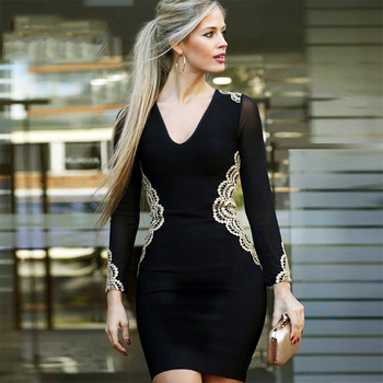 Long Sleeve V-Neck Embroidery Sexy Night Out Dress Women Bodycon Vestidos
