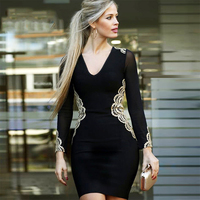 2018 Newest Summer Bandage Dress Women Celebrity Party Long Sleeve V Neck Embroidery Sexy Night Out Dress Women Bodycon Vestidos