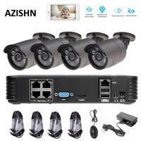 FULL HD 1080P 4CH CCTV System PoE Kit Surveillance PoE 4CH 1080P NVR 4PCS 1080P