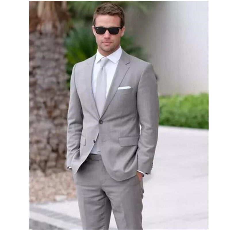 NoEnName_Null New Costume Homme Mariage Light Gray Men Suits Formal Occasion Business Men Suit 2017 Prom Suits Jacket +Pants