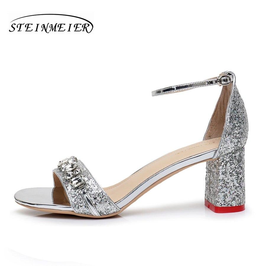 Élégant Talon 6 Argent Pompes Steinmeier Talons Hauts Silver Épais Cm Femmes Carré Boucle Sandales Strass Chaussures 5 nf0WqAP
