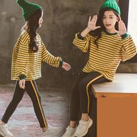 2019 Fashion Toddler Girls Clothing Sets For Girls Long Sleeve Striped T shirts Tops + Leggings Kids Trousers Costume 10 12 Year