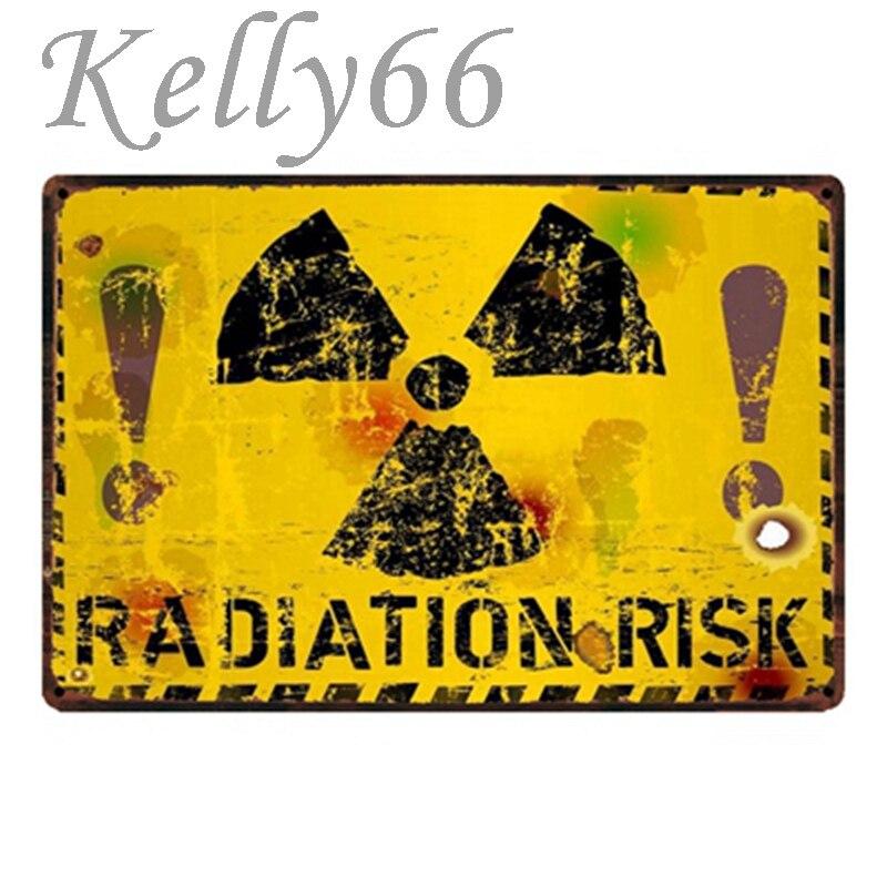 [Kelly66] Risco de Radiação Sinal Da Lata do Metal Poster Home Decor Arte Da Parede Bar Pintura 20*30 CM Tamanho y-1734