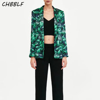Autumn Woman's High Street print suit Blazer Fashion Long Sleeve Fashion green suit Coat XSZ1537
