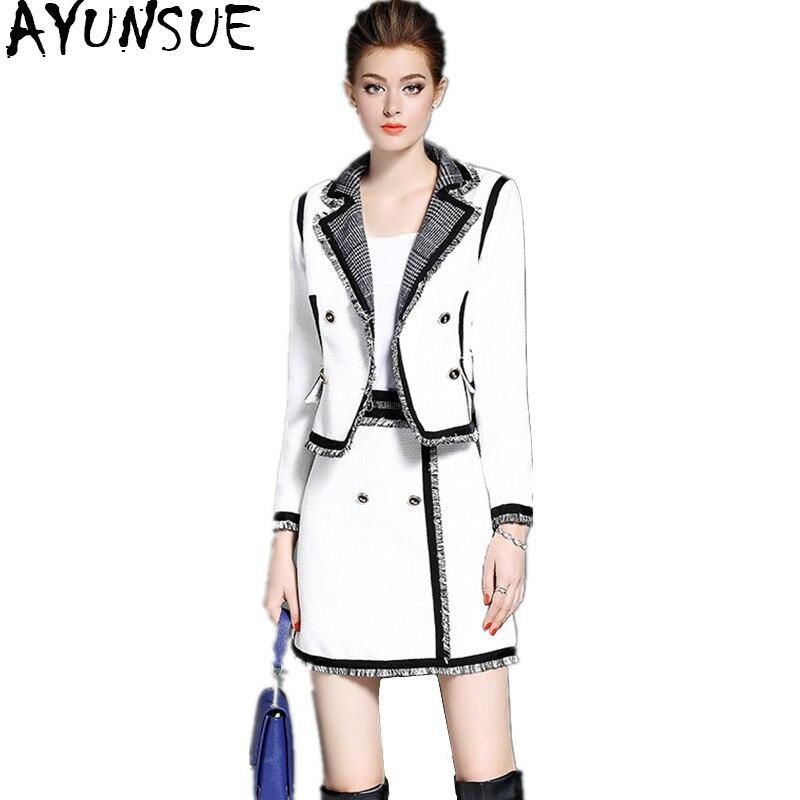 Ayunsue 2018 элегантный Для женщин костюмы Белый с длинным рукавом Осенняя куртка Для женщин юбка комплект из двух предметов женщина костюм одеж