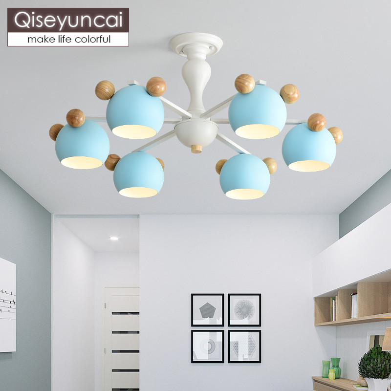 Qiseyuncai Nordic modern restaurant color macaron chandelier simple children's room bedroom log LED lamps free shipping