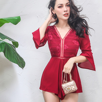 Chic Lace Chiffon Boho Jumpsuit Romper Sexy Women V neck Jumpsuit Playsuit Summer Overall Shorts