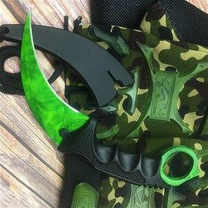 Image 5 - CS GO Emerald green design chic claw knife 9.8 calowy motylkowy nóż treningowy z pochwą i smycz na szyję tactics claw knife