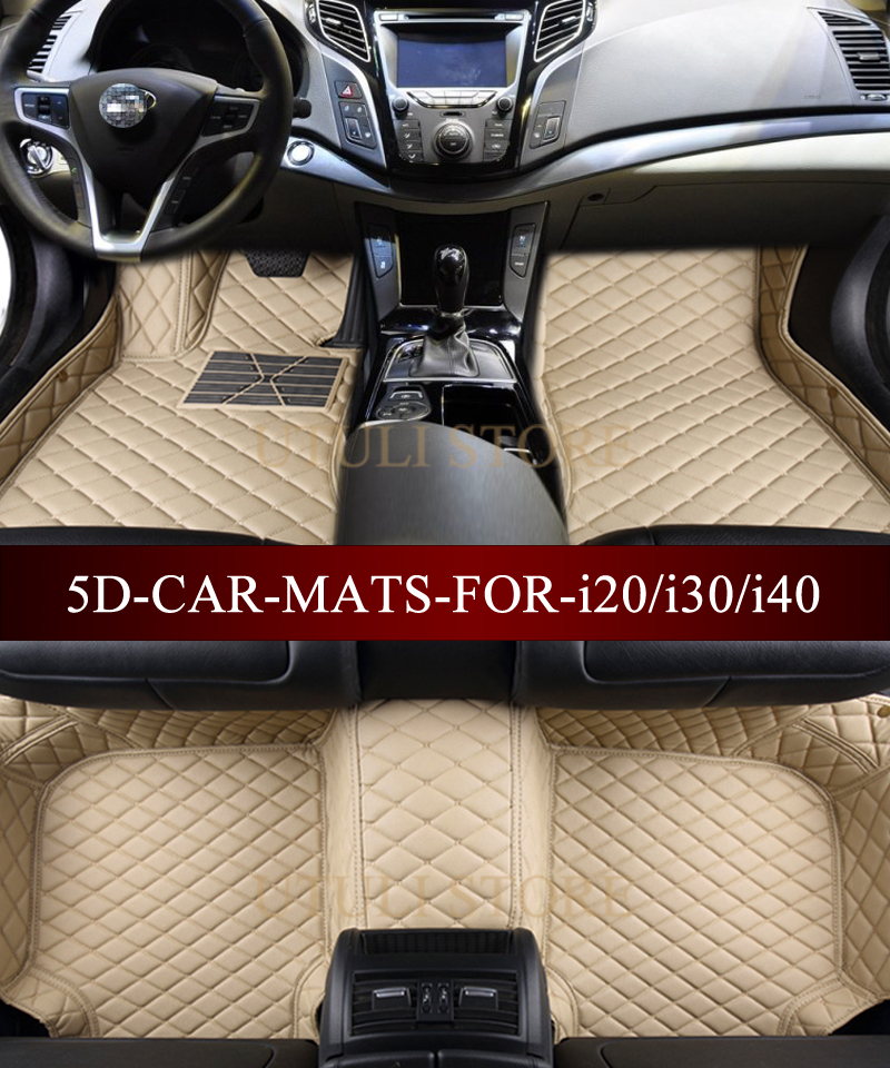 Hyundai I10 2014 ONWARDS TAILORED CAR FLOOR MATS-BLACK WITH ORANGE TRIM