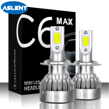 Aslent C6 MAX Mini H7 LED H4 Bulb H1 H3 H11 HB3 9005 HB4 9006 9012 Car Headlight 72W 8000lm 6000K for Auto Lamp Fog Lights 12V claude bernard часы claude bernard 54005 37rair коллекция classic ladies date